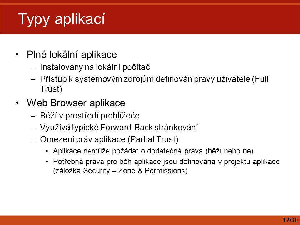 Typy aplikací Plné lokální aplikace Web Browser aplikace