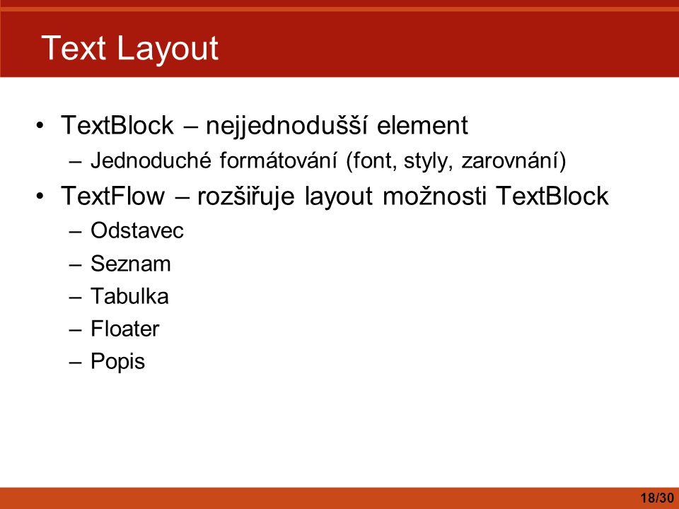 Text Layout TextBlock – nejjednodušší element