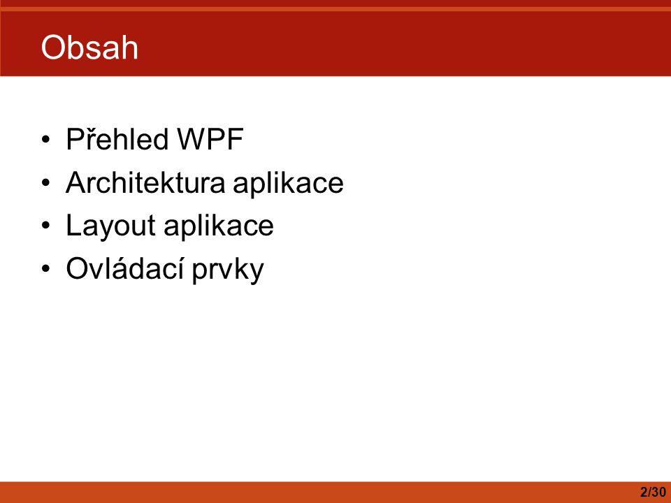 Obsah Přehled WPF Architektura aplikace Layout aplikace Ovládací prvky