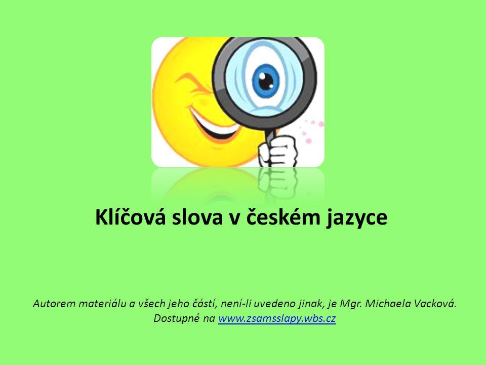 Klíčová slova v českém jazyce