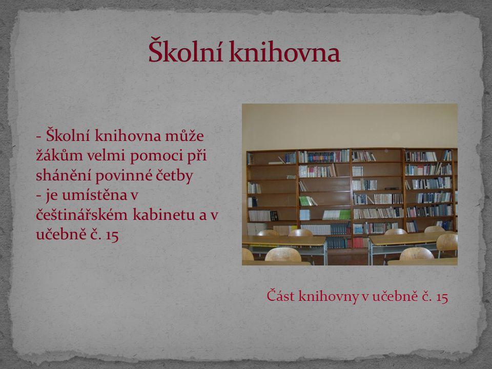 Školní knihovna Školní knihovna může žákům velmi pomoci při shánění povinné četby. je umístěna v češtinářském kabinetu a v učebně č. 15.