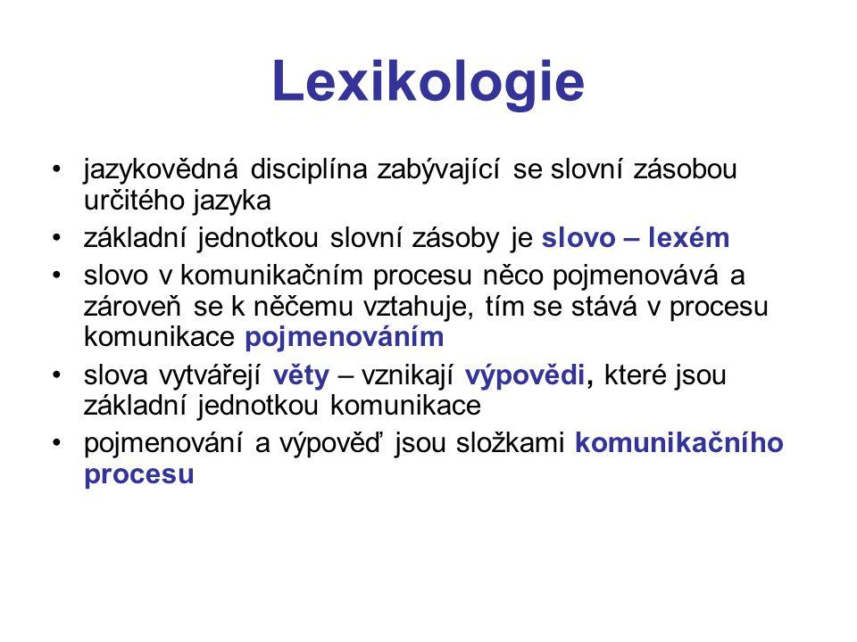 Lexikologie jazykovědná disciplína zabývající se slovní zásobou určitého jazyka. základní jednotkou slovní zásoby je slovo – lexém.