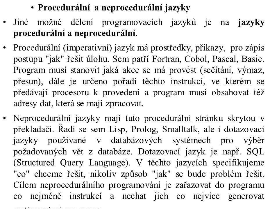 Procedurální a neprocedurální jazyky