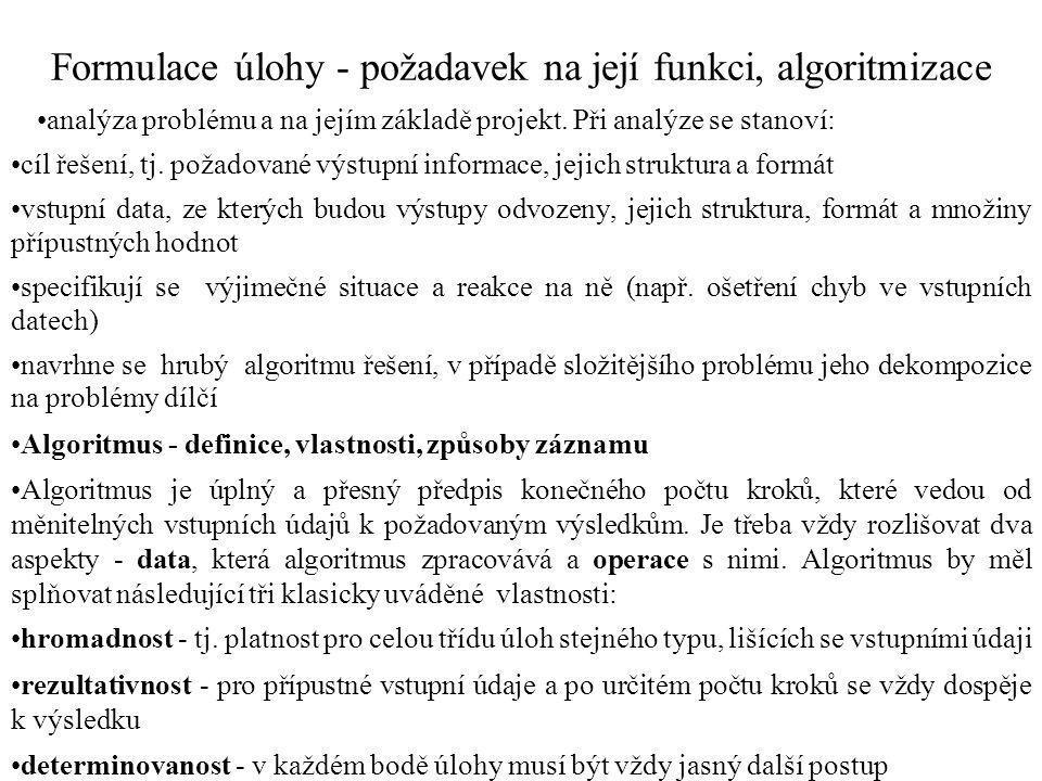 Formulace úlohy - požadavek na její funkci, algoritmizace
