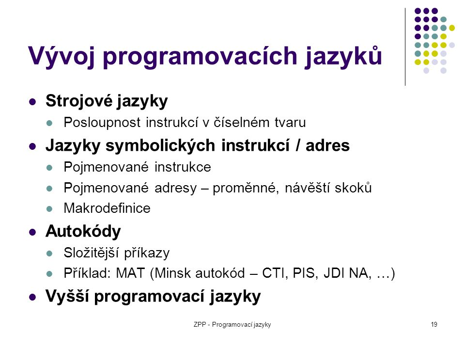 Vývoj programovacích jazyků