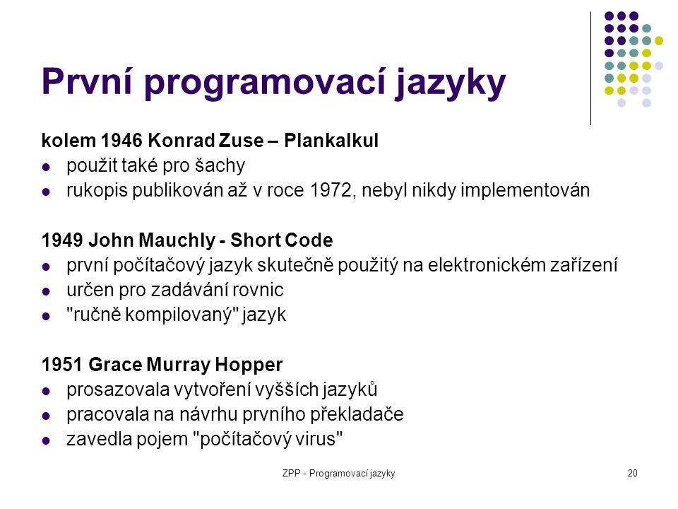První programovací jazyky