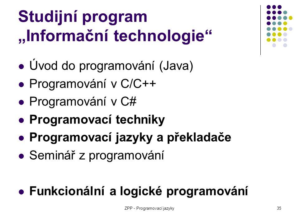 """Studijní program """"Informační technologie"""