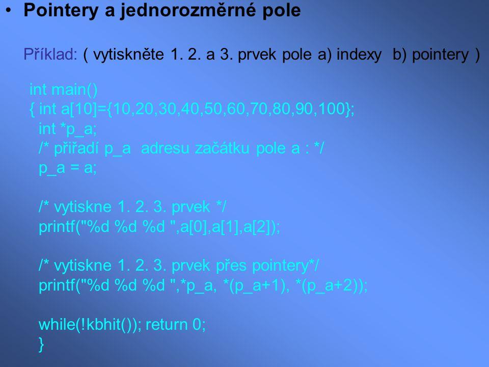 Pointery a jednorozměrné pole