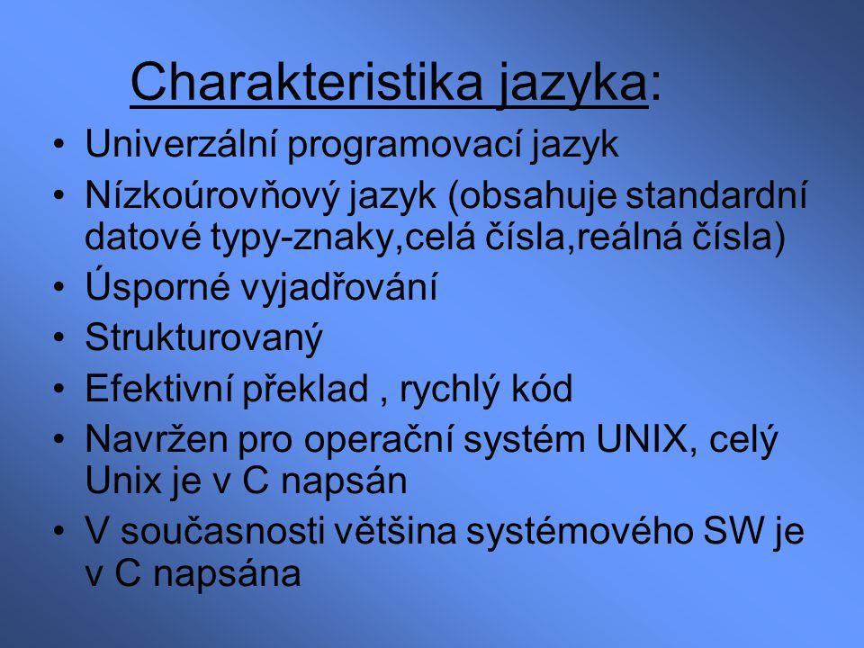 Charakteristika jazyka: