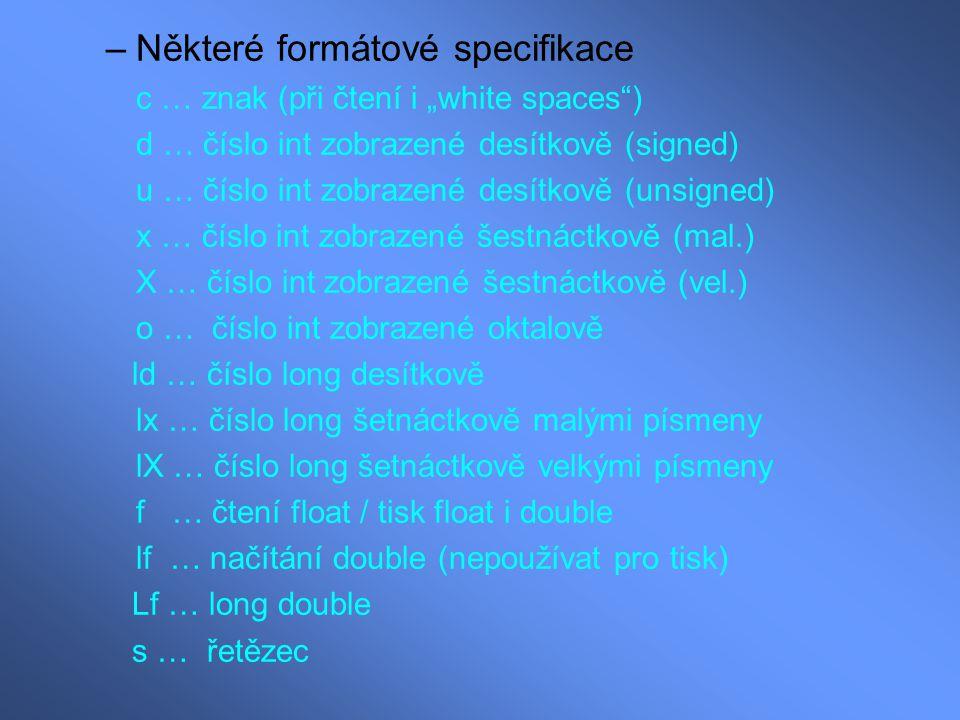 Některé formátové specifikace