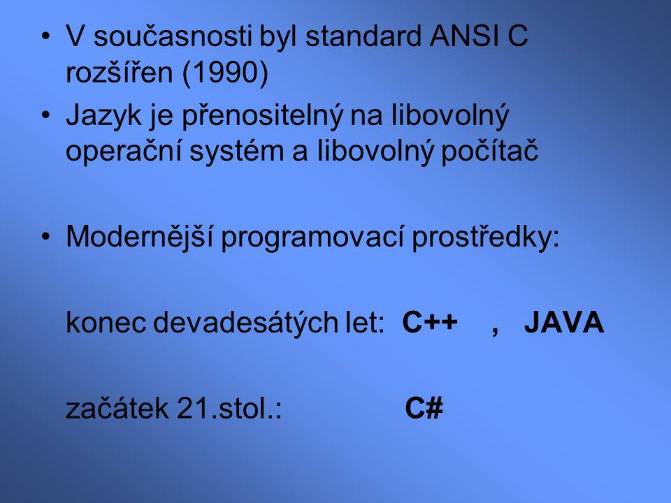 V současnosti byl standard ANSI C rozšířen (1990)