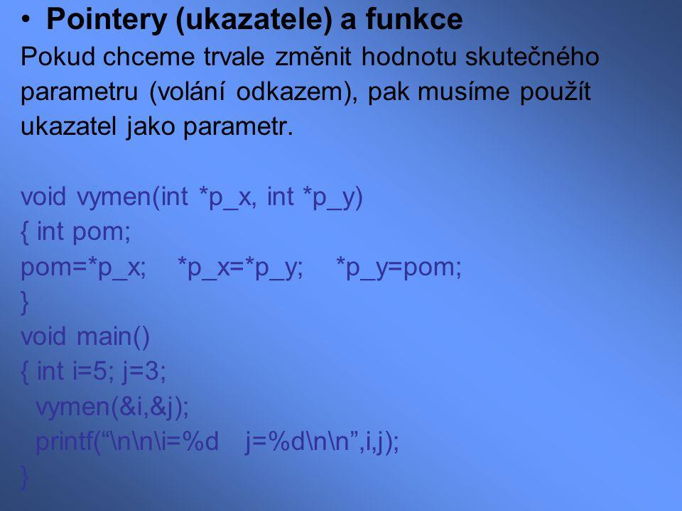 Pointery (ukazatele) a funkce