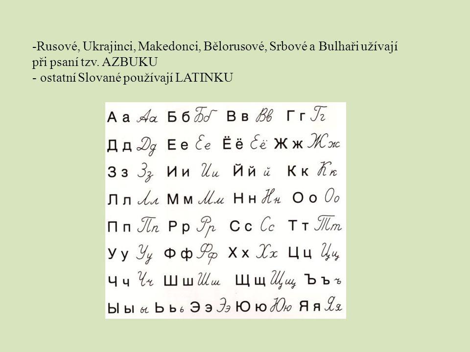 Rusové, Ukrajinci, Makedonci, Bělorusové, Srbové a Bulhaři užívají při psaní tzv. AZBUKU