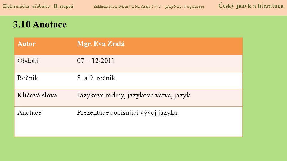 3.10 Anotace Autor Mgr. Eva Zralá Období 07 – 12/2011 Ročník