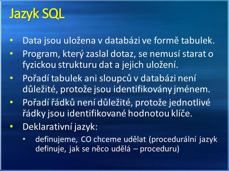 Jazyk SQL Data jsou uložena v databázi ve formě tabulek.