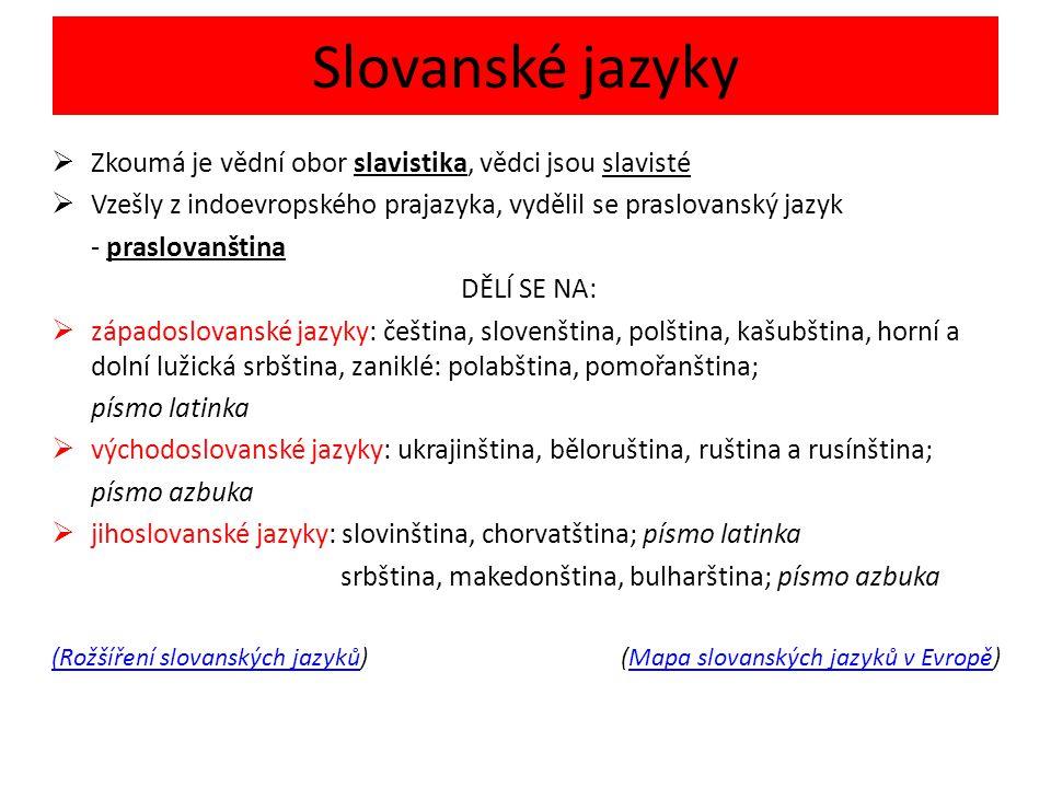 Slovanské jazyky Zkoumá je vědní obor slavistika, vědci jsou slavisté