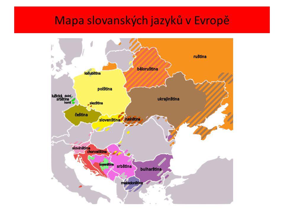 Mapa slovanských jazyků v Evropě