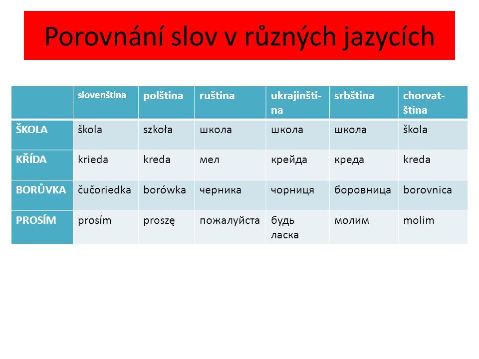 Porovnání slov v různých jazycích