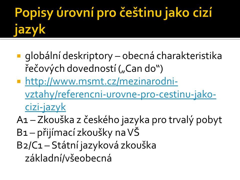 Popisy úrovní pro češtinu jako cizí jazyk