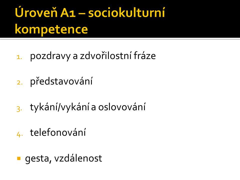 Úroveň A1 – sociokulturní kompetence