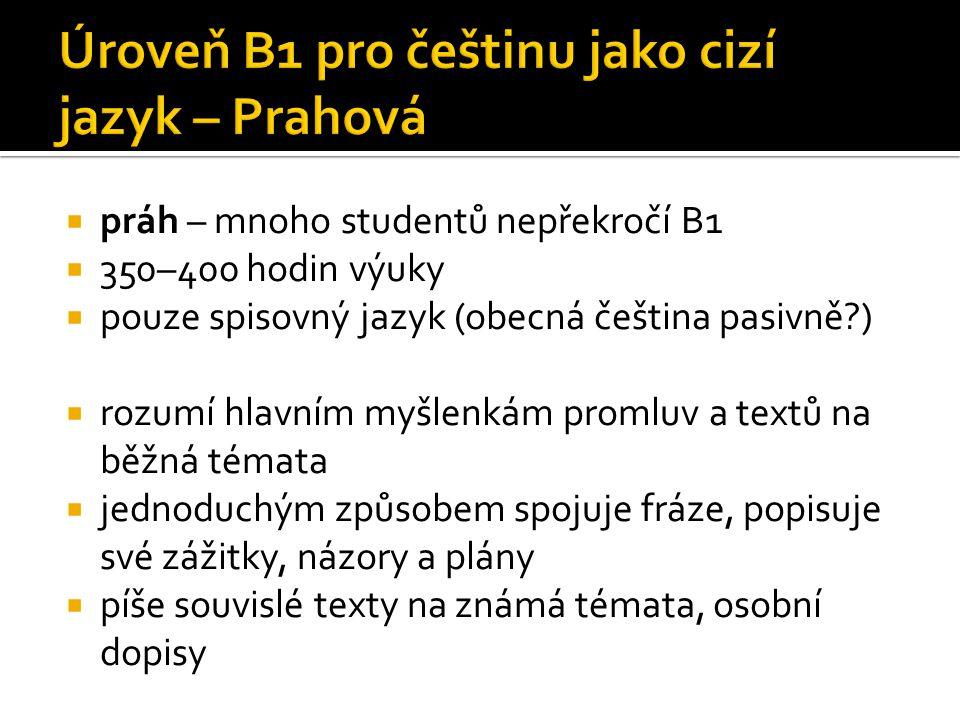 Úroveň B1 pro češtinu jako cizí jazyk – Prahová