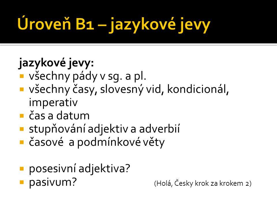 Úroveň B1 – jazykové jevy