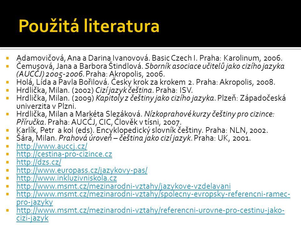 Použitá literatura Adamovičová, Ana a Darina Ivanovová. Basic Czech I. Praha: Karolinum, 2006.