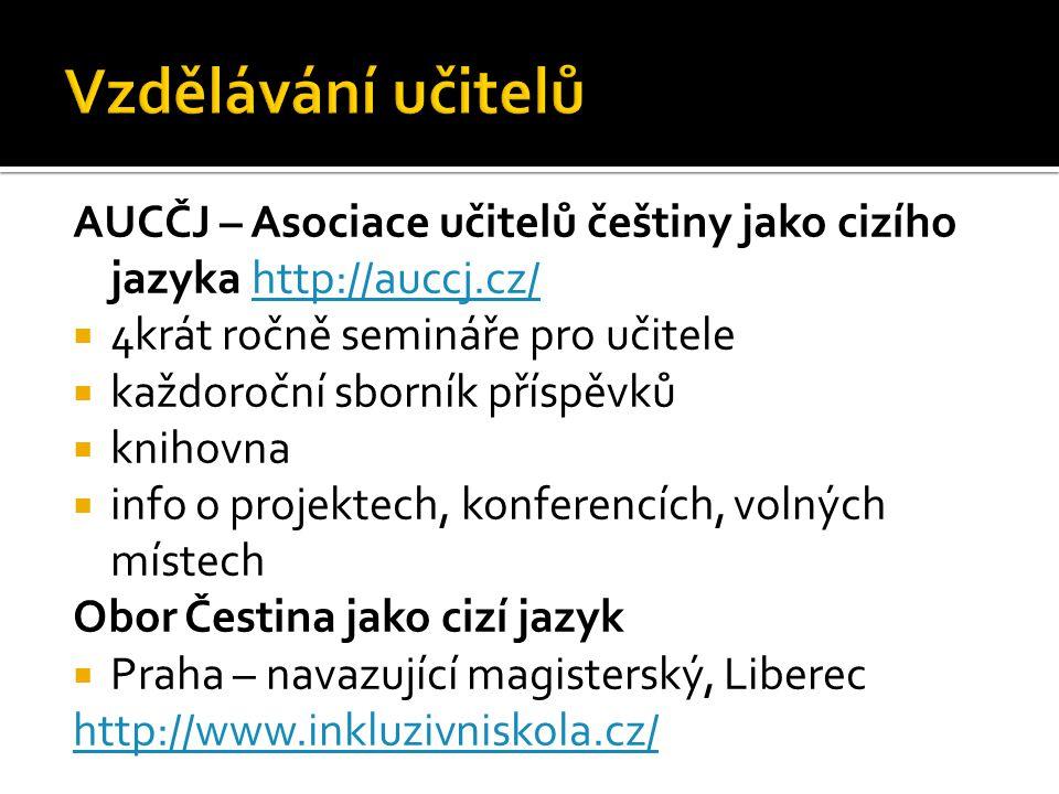 Vzdělávání učitelů AUCČJ – Asociace učitelů češtiny jako cizího jazyka http://auccj.cz/ 4krát ročně semináře pro učitele.