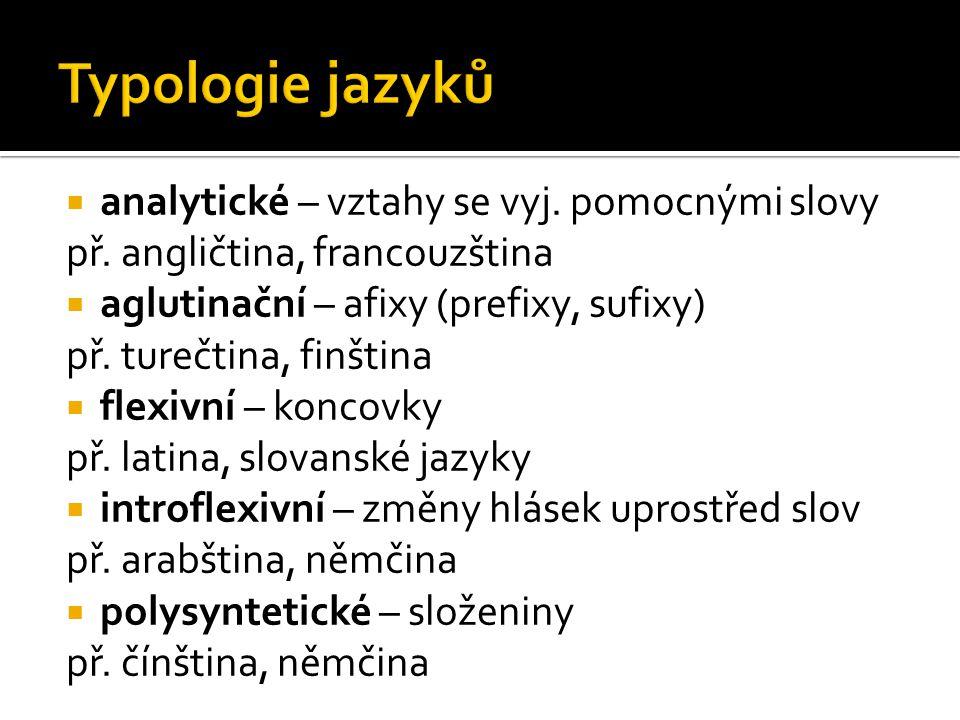 Typologie jazyků analytické – vztahy se vyj. pomocnými slovy