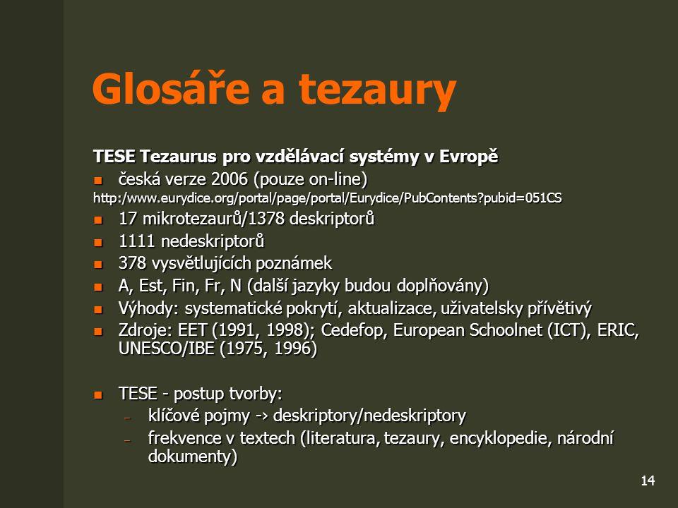 Glosáře a tezaury TESE Tezaurus pro vzdělávací systémy v Evropě