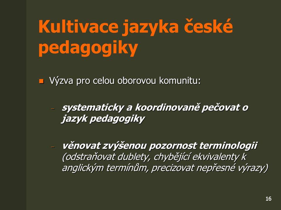 Kultivace jazyka české pedagogiky