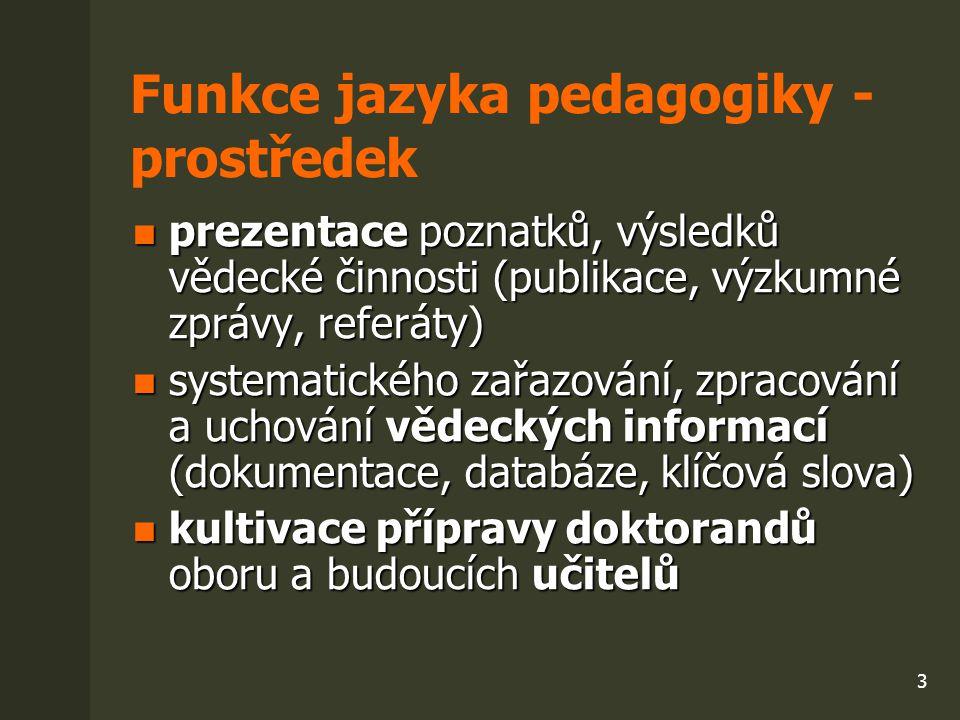 Funkce jazyka pedagogiky - prostředek