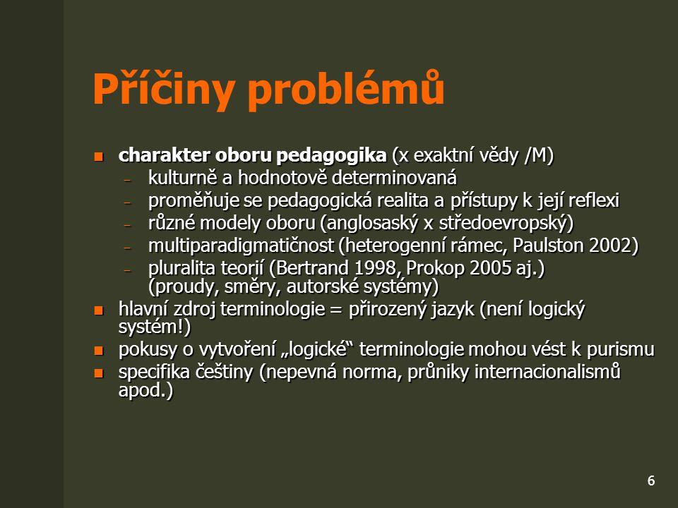 Příčiny problémů charakter oboru pedagogika (x exaktní vědy /M)