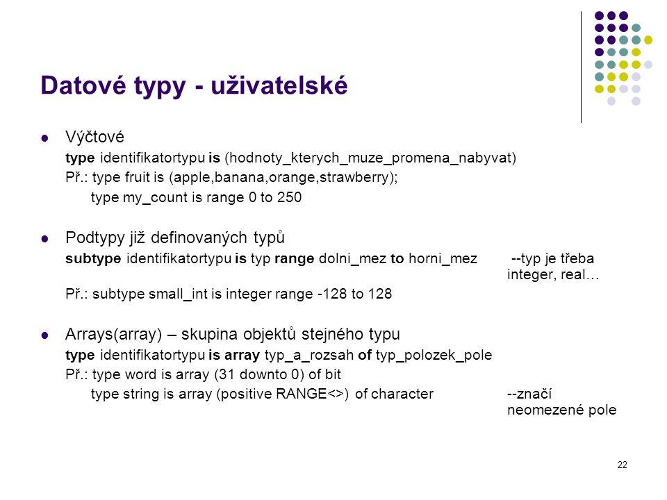 Datové typy - uživatelské
