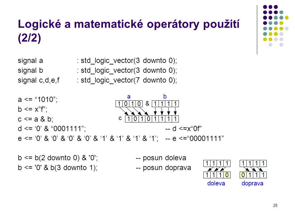 Logické a matematické operátory použití (2/2)