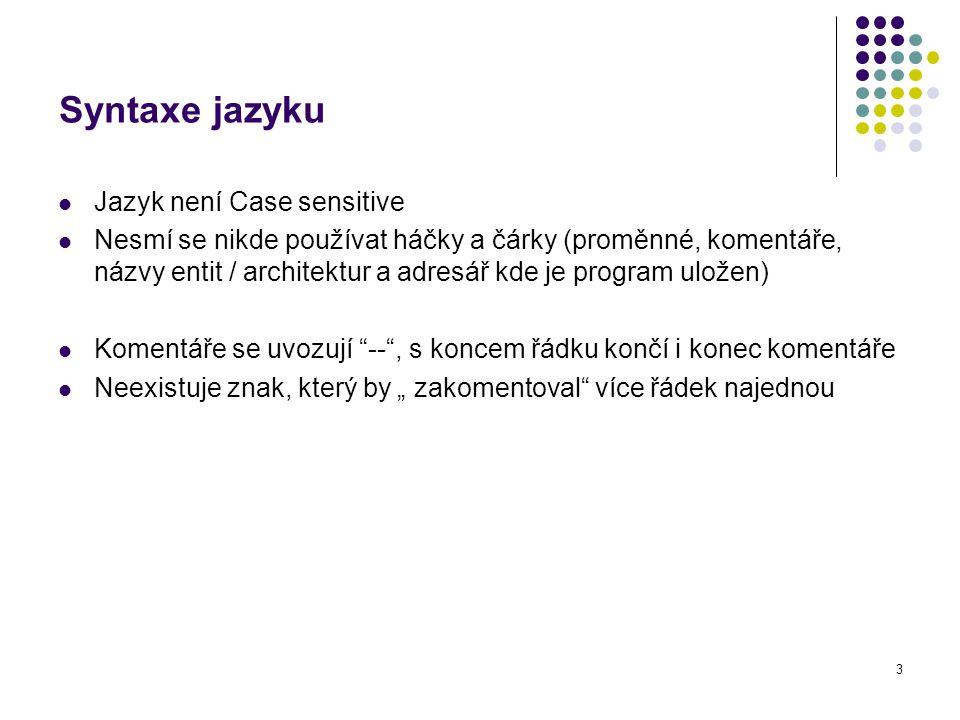 Syntaxe jazyku Jazyk není Case sensitive