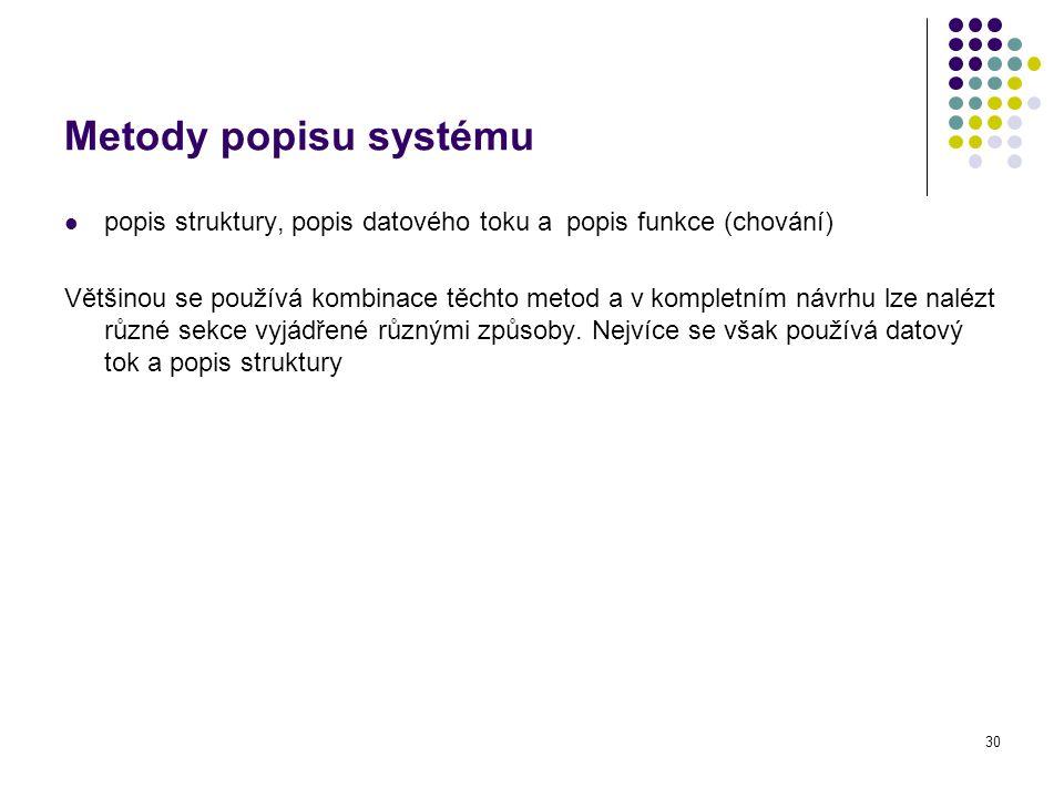 Metody popisu systému popis struktury, popis datového toku a popis funkce (chování)