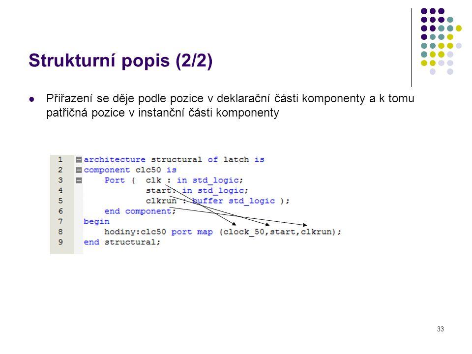 Strukturní popis (2/2) Přiřazení se děje podle pozice v deklarační části komponenty a k tomu patřičná pozice v instanční části komponenty.