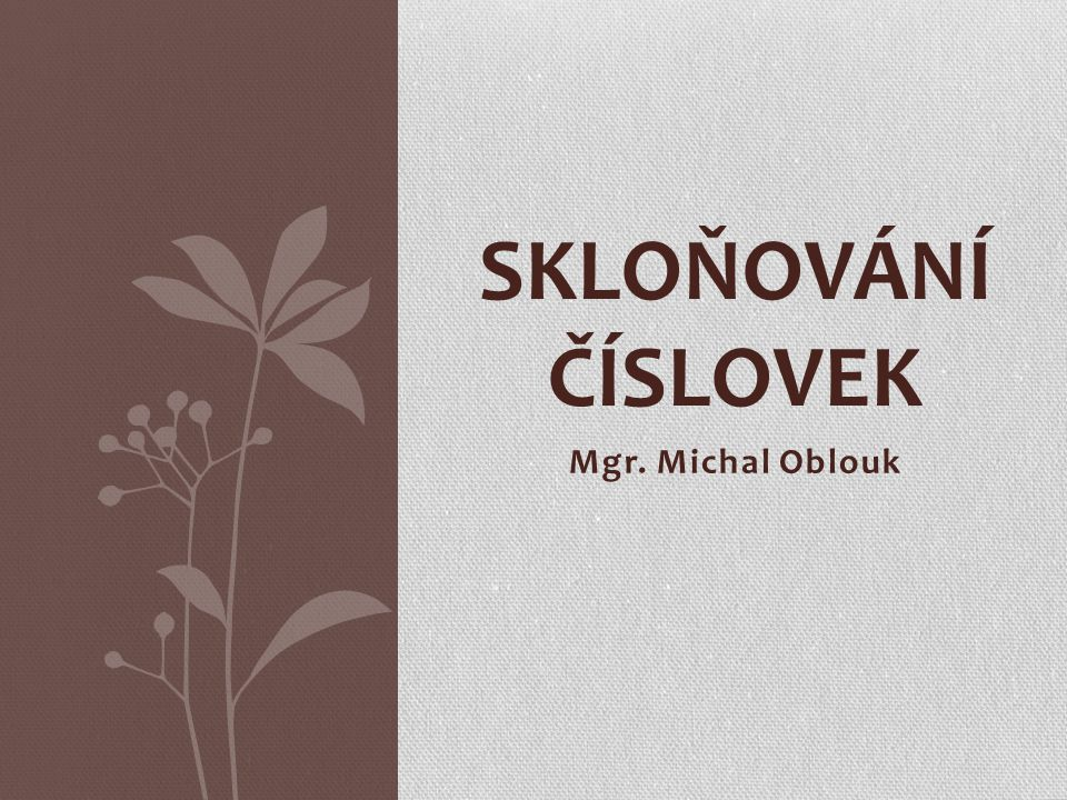 SKLOŇOVÁNÍ ČÍSLOVEK Mgr. Michal Oblouk