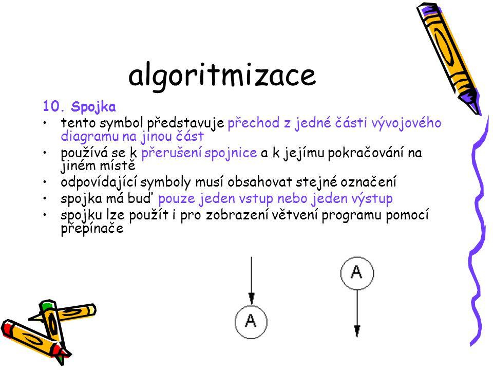 algoritmizace 10. Spojka. tento symbol představuje přechod z jedné části vývojového diagramu na jinou část.