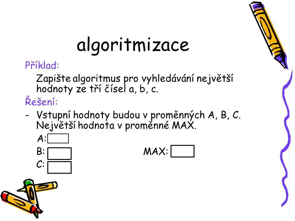 algoritmizace Příklad: