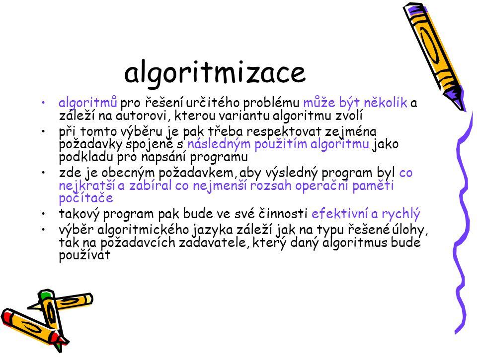 algoritmizace algoritmů pro řešení určitého problému může být několik a záleží na autorovi, kterou variantu algoritmu zvolí.