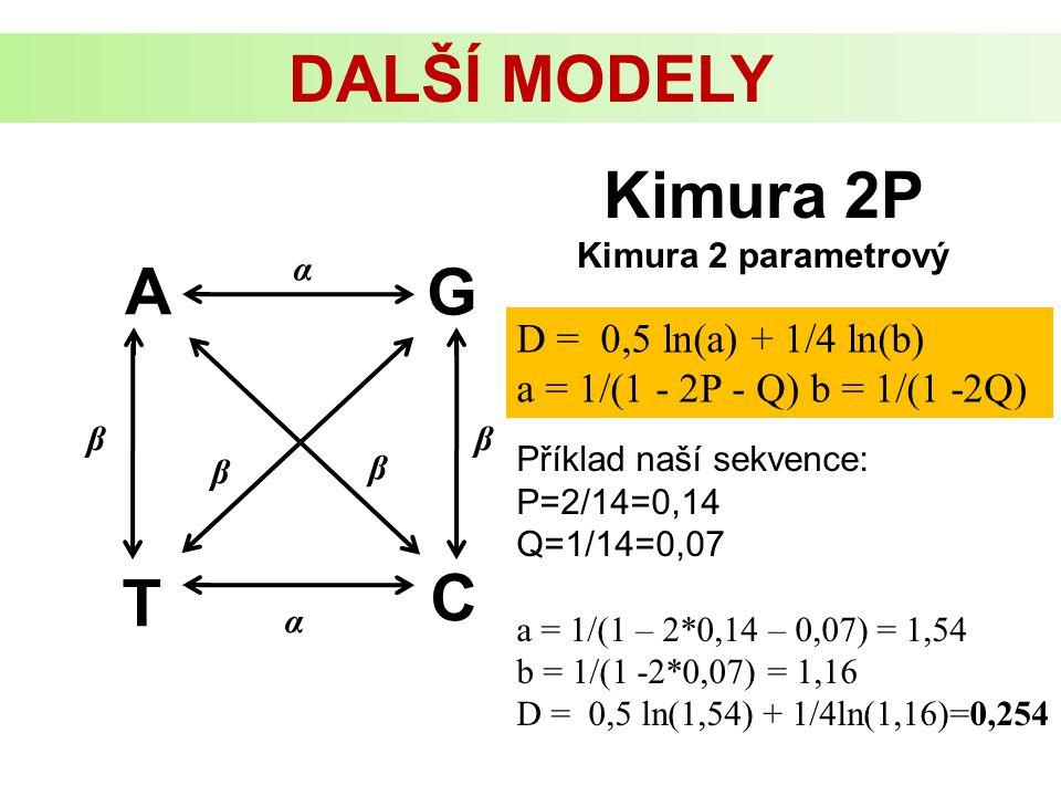 DALŠÍ MODELY Kimura 2P A G C T D = 0,5 ln(a) + 1/4 ln(b)