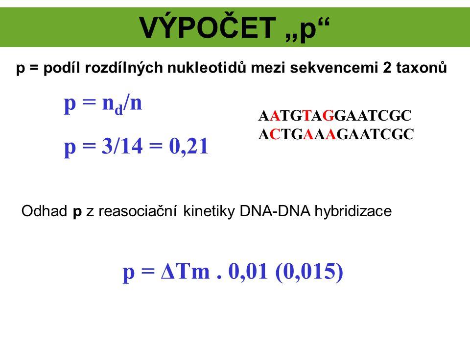 "VÝPOČET ""p p = nd/n p = 3/14 = 0,21 p = ΔTm . 0,01 (0,015)"