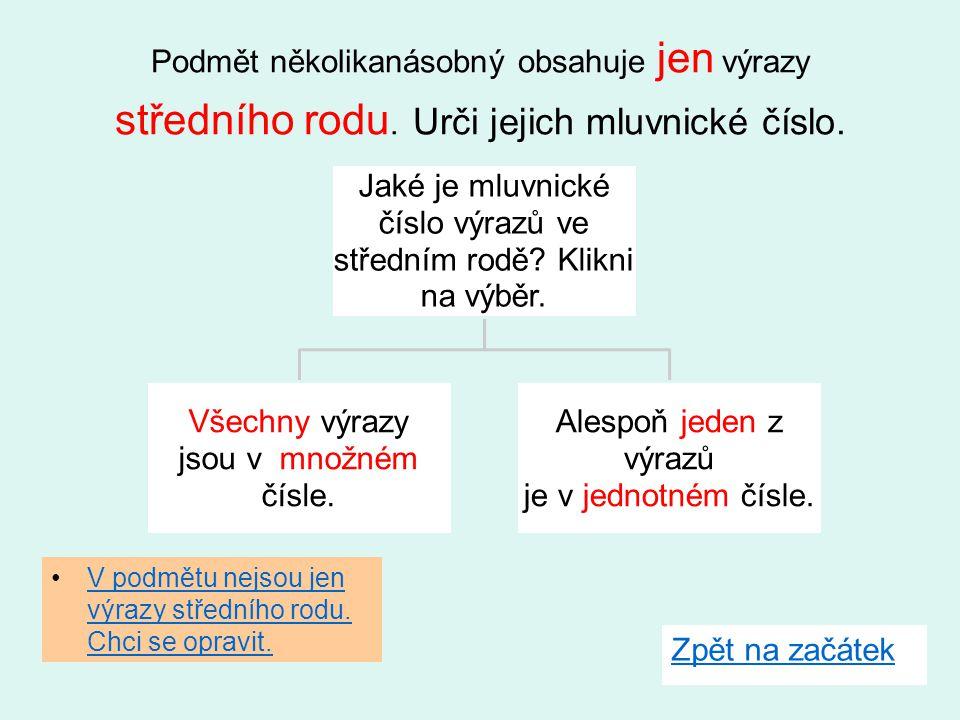 Jaké je mluvnické číslo výrazů ve středním rodě Klikni na výběr.