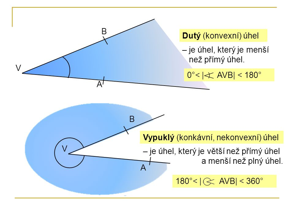 B Dutý (konvexní) úhel. – je úhel, který je menší než přímý úhel. V. 0°< | AVB| < 180° A.