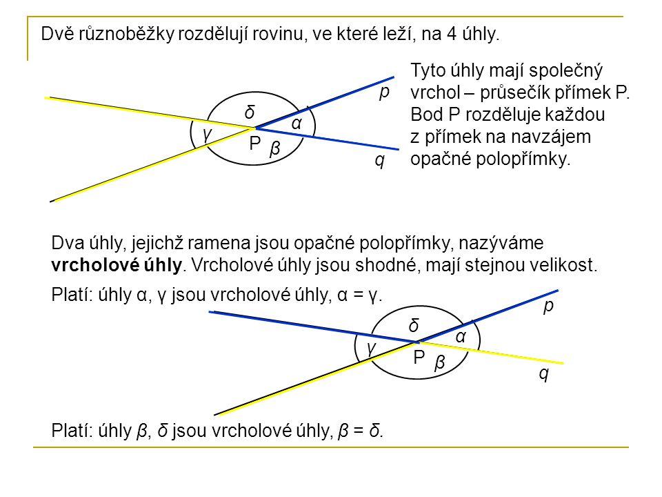 Dvě různoběžky rozdělují rovinu, ve které leží, na 4 úhly.