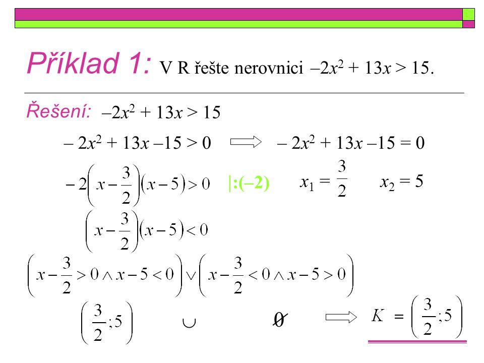 Příklad 1: V R řešte nerovnici –2x2 + 13x > 15. Řešení: