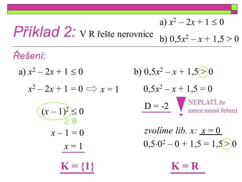 Příklad 2: K = {1} K = R a) x2 – 2x + 1  0 b) 0,5x2 – x + 1,5 > 0