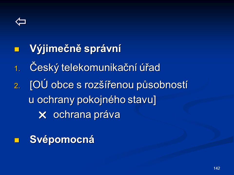  Výjimečně správní Český telekomunikační úřad